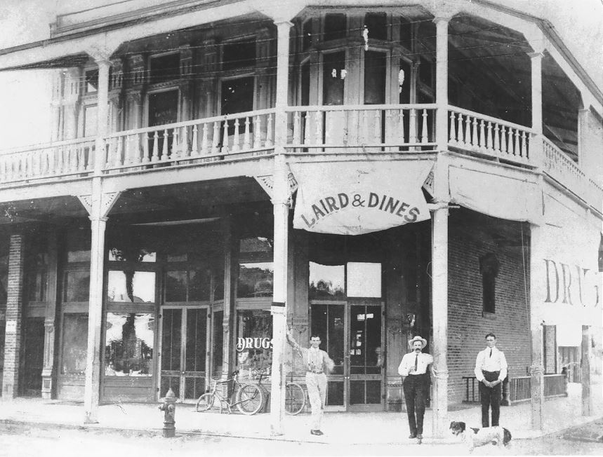 1910 - Laird & Dines Drug Store, built in 1893, SE corner of Mill Ave and East 5th Str, Tempe, AZ
