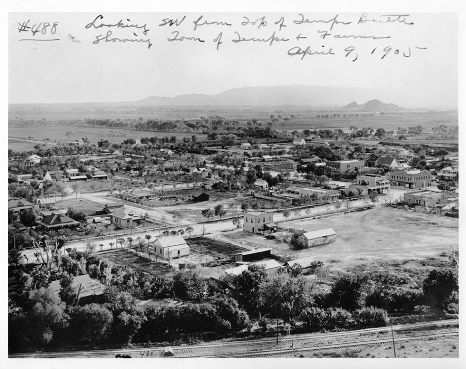 1905 - looking southwest from Tempe butte (Hayden Butte, 'A' Mountain) Tempe, AZ