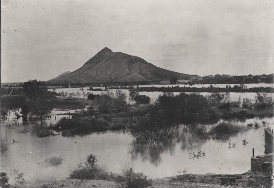 Salt River and Tempe Butte (aka Hayden Butte, 'A' Mountain) in Tempe, AZ
