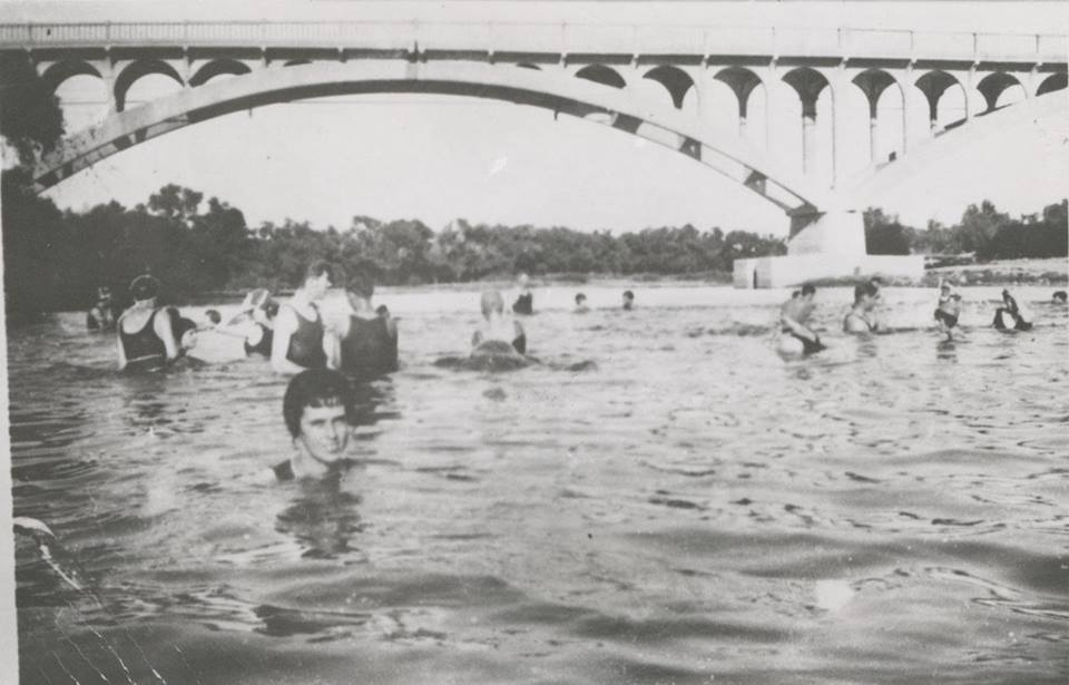 circa 1923 - Salt River and the Tempe State Bridge (aka Ash Avenue Bridge in Tempe, AZ