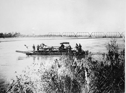 circa 1900 - Hayden's Ferry crossing Salt River with railroad bridge in the distance, Tempe, AZ