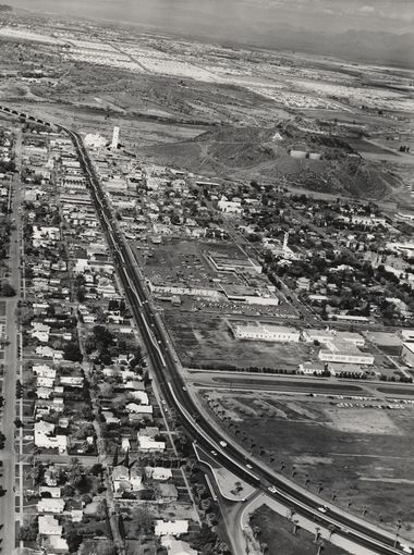 1950s - aerial view looking  north of Mill Ave, Tempe, AZ