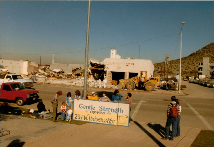 1984 - the demolition  of the Earthen Joy/Gentle Strength building on East 5th Str east of Mill Ave on north side