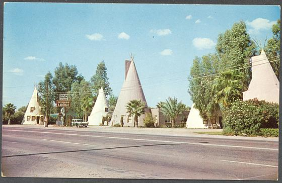 Tempe Teepees - Wigwam Auto Court/Wigwam Lodge, Apache Blvd, Tempe, AZ Built in 1945 - 1946, half of the structures were demolished 1971, and the remaining teepees were bulldozed in 1983