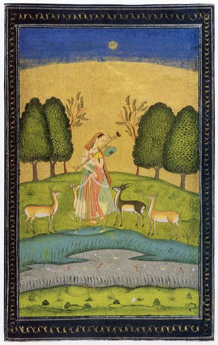 India art of a musician and deer