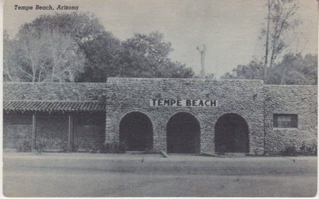 Tempe Beach Park stone building built during the Great Depression 1935 - 1938, Tempe AZ